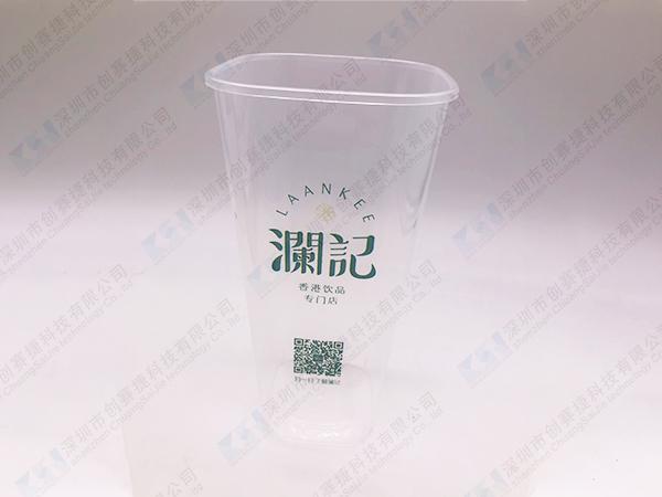 一次性方形奶茶杯UV印刷喷印效果